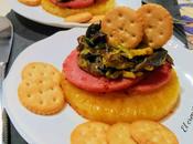 Tapa piña plancha setas, jamón galletas saladas