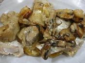 Pescado horno hongos crema