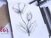 Pintando: Flor blanco negro