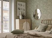 Colores pastel, papel pared floral mimbre para dormitorio acogedor