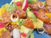 Ensalada salmón marinado soja mango aguacate