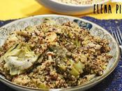 Quinoa tricolor alcachofas setas salteadas