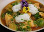 Salmón Curry Coles Bruselas Arroz