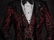 Esmoquin moda terciopelo brocado floral rojo negro