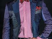 Chaqueta patchwork italiana jacquard pura seda tonos azules
