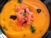 Porra papaya, cítricos salmón ahumado aromas eneldo
