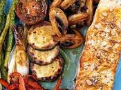 Salmón verduras plancha
