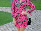 Vestido-blazer fucsia flores