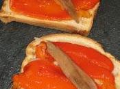 Tosta pimientos asados, anchoas queso