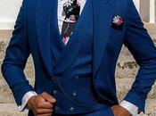 Traje novio chaqué azul royal diseño pata gallo