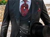 Traje novio chaqué negro raya diplomática roja