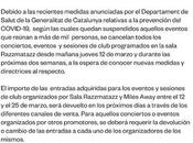sala Razzmatazz Barcelona cancela toda actividad hasta marzo