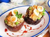 Berenjenas rellenas quinoa huevo codorniz