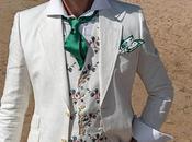 Traje novio blanco puro lino corte italiano moderno slimfit