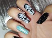 Diseño uñas blanco negro flores, ideal para boda, bautizo comunión