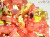 Tartar sandía pistachos verdes