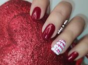 Manicura rojo blanco para Valentín