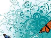 Mariposas fondo floral vectorizado