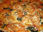 Pizza panceta ahumada espinacas